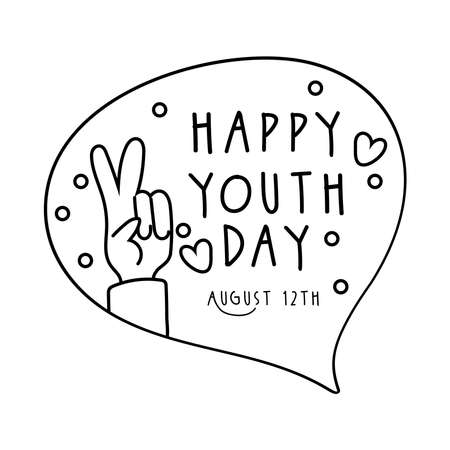 happy youth day lettering in speech bubble and hand peace and love line style vector illustration design