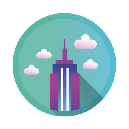 skyscraper building detailed style icon vector illustration design