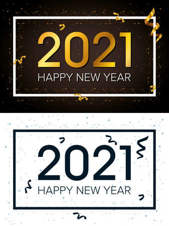 happy new year 2021 celebration poster with squares frames vector illustration design