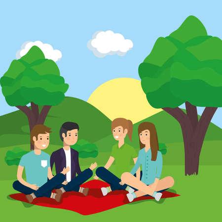 outdoor men and women sitting in blanket park activity vector illustration