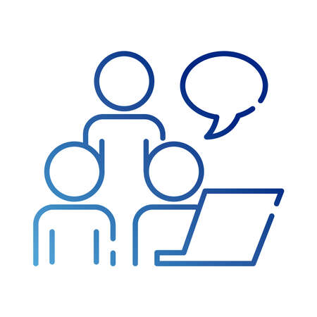 teamworkers with speech bubble and laptop coworking gradient style icon vector illustration design