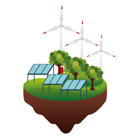 eco friendly solar panel wind turbine forest sustainability vector illustration