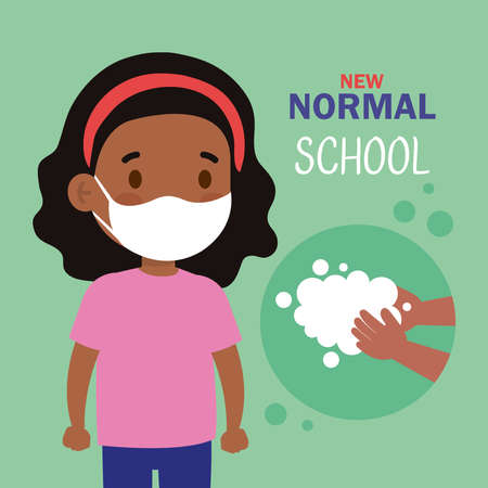 New normal school of girl kid with mask and hands washing design of covid 19 virus and prevention theme Vector illustration