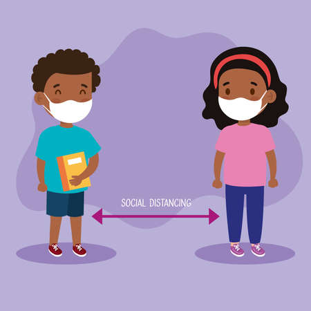 New normal school social distance between girl and boy kid with mask design of covid 19 virus and prevention theme Vector illustration