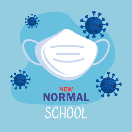 New normal with facemask design of covid 19 virus and prevention theme Vector illustration