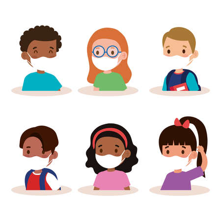 New normal school of girls and boys kids with masks design of covid 19 virus and prevention theme Vector illustration