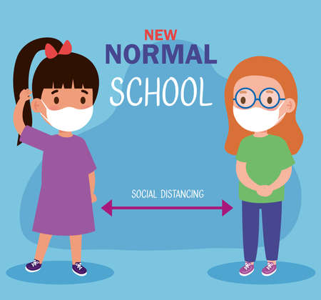 New normal school social distance between girls kids with masks design of covid 19 virus and prevention theme Vector illustration