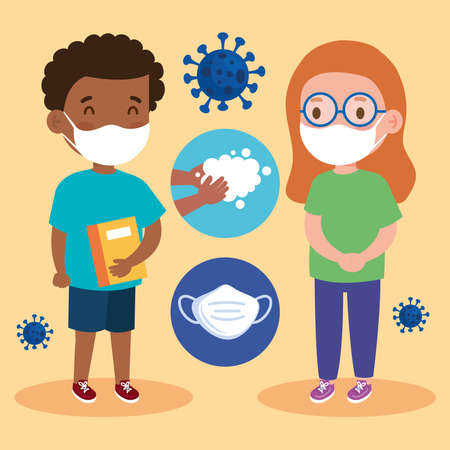 New normal school of girl and boy kid with mask design of covid 19 virus and prevention theme Vector illustration