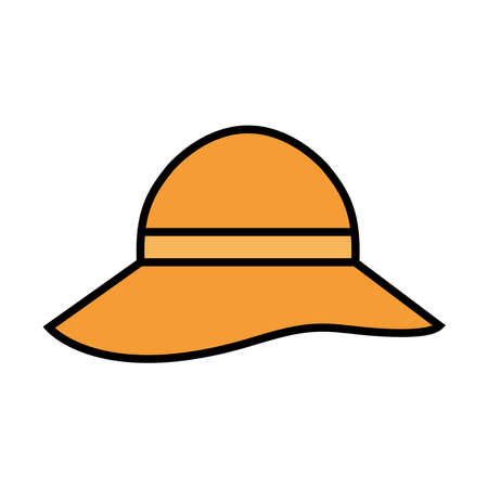 Hat line and fill style icon design, Cloth costume accessory decoration uniform object season and traditional theme Vector illustration