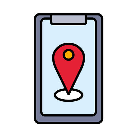 Gps mark in smartphone line and fill style icon design, Map travel navigation route and road theme Vector illustration
