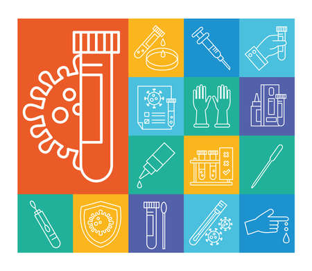 covid 19 virus test line style icon set design of 2019 ncov cov and coronavirus theme Vector illustration Vector Illustratie