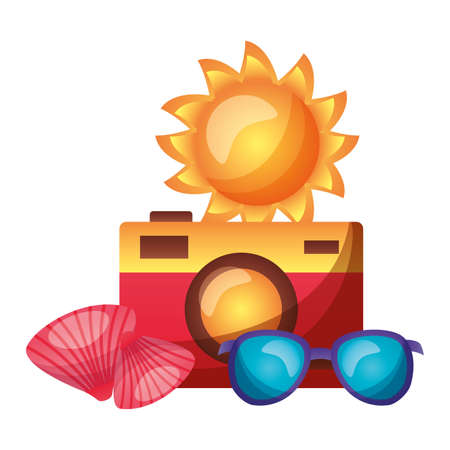 summer time holiday camera sun sunglasses and shell vector illustration
