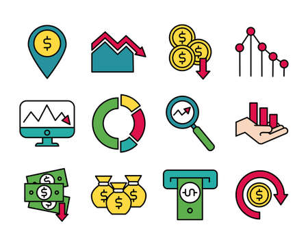 bundle of market crash set icons vector illustration design