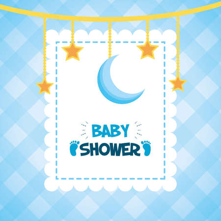 hanging stars decoratin baby shower card vector illustration