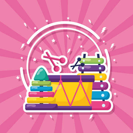 kids toys musical drum xylophone pyramid vector illustration
