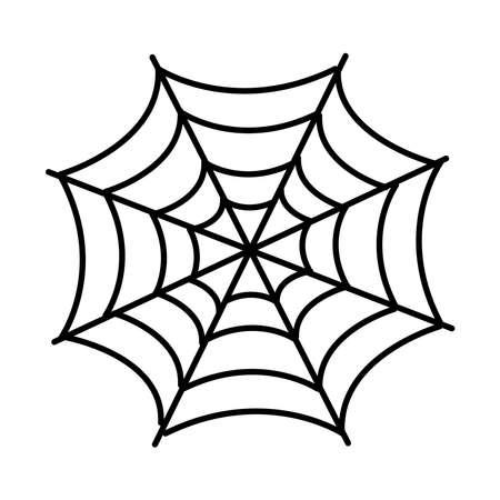 halloween spider net line style icon vector illustration design