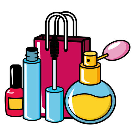 shopping bag mascara brush nail polish fragrance pop art vector illustration