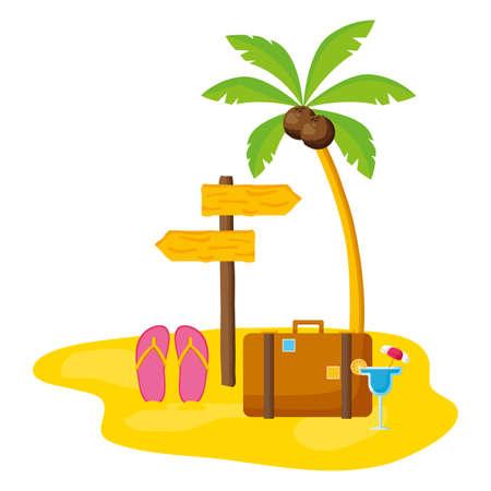 summer time holiday suitcase flip flops cocktail palm vector illustration