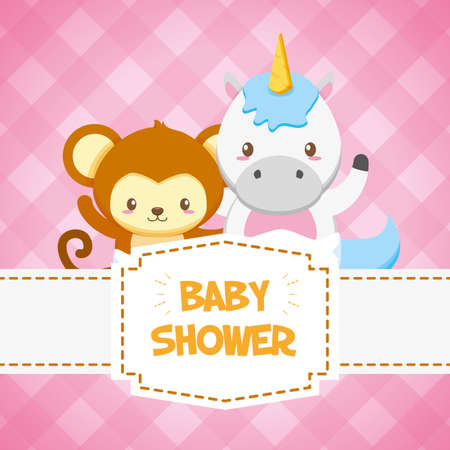 unicorn and monkey toy baby shower card vector illustration