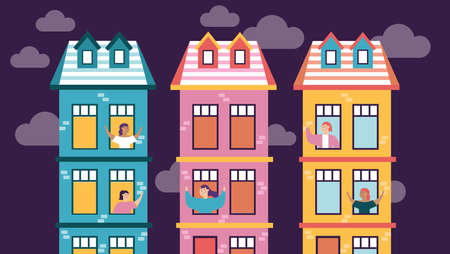 quarantined people leaning out of the building windows vector illustration design