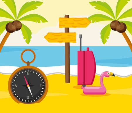 summer time holiday beach flamingo float bag and compass