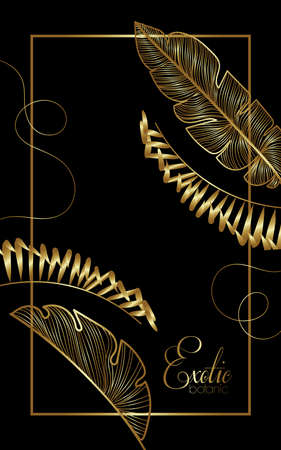 luxury exotic botany golden square frame vector illustration design
