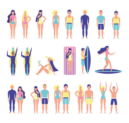 group of people with beach costumes bundle characters vector illustration design