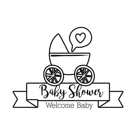 baby shower lettering with cart trolley line style vector illustration design