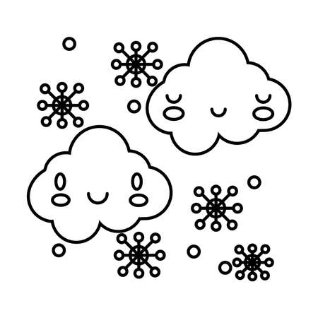 clouds sky with snowflakes comic character line style vector illustration design Illusztráció