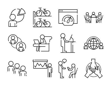bundle of twelve coworking set line style icons vector illustration design
