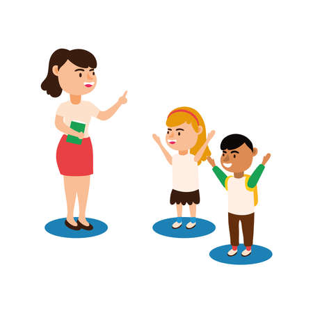 teacher female worker with students kids characters vector illustration design