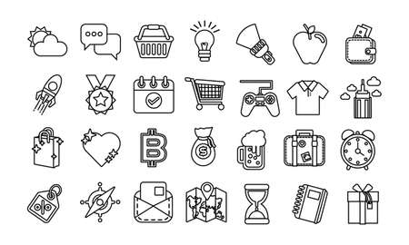 bundle of miscellaneous set icons vector illustration design