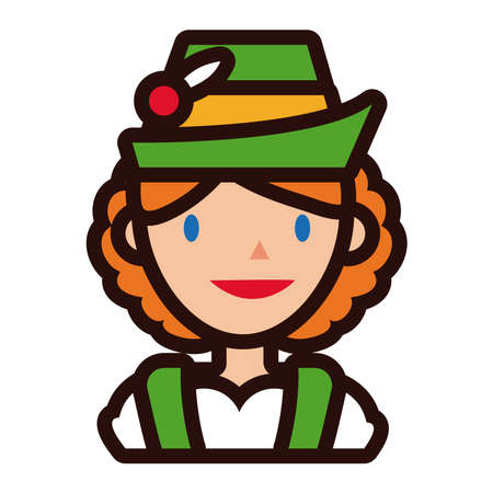 woman in traditional oktoberfest costume line and fill style vector illustration design Ilustração