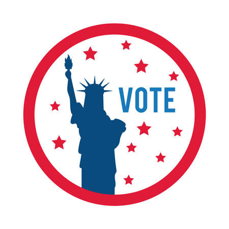 vote word and liberty statue usa elections flat style icon vector illustration design 向量圖像