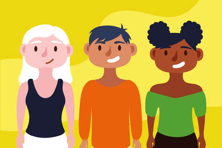group of interracial people Inclusion concept characters vector illustration design