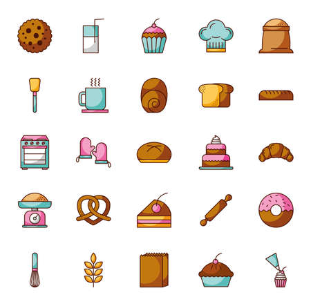 bundle of pastry bakery icons vector illustration design