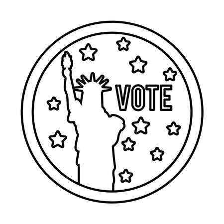 vote word and liberty statue usa elections line style icon vector illustration design 向量圖像