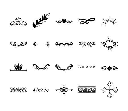 bundle of decorative elements silhouettes vector illustration design