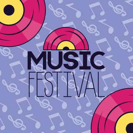 music festival notes musical background vinyls record vector illustration Ilustración de vector