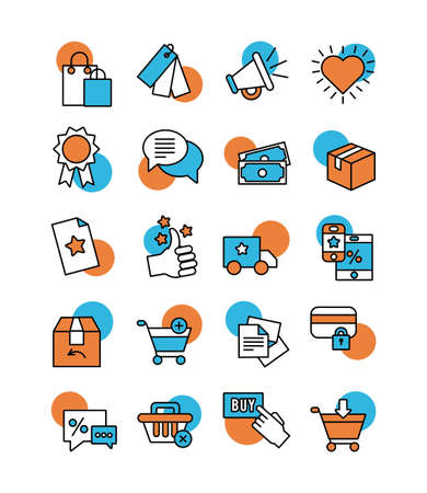 bundle of online commerce icons vector illustration design Vetores