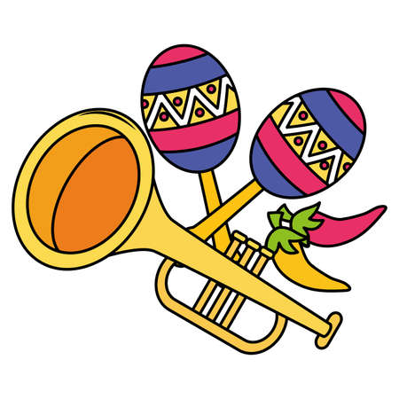 trumpet and maracas musical instruments vector illustration design