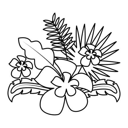 flowers tropical leaves decoration on white background vector illustration 向量圖像