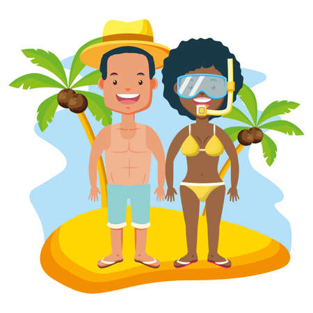 summer time couple with mask snorkel beach vector illustration 向量圖像