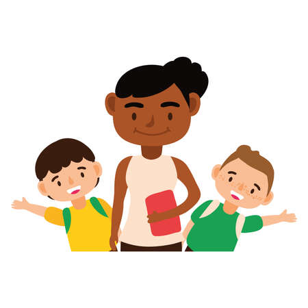 afro teacher female worker with little schoolboys vector illustration design