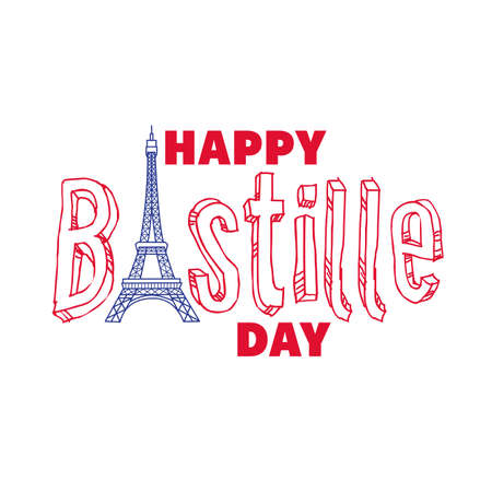 bastille day lettering with eiffel tower hand draw style vector illustration design 向量圖像
