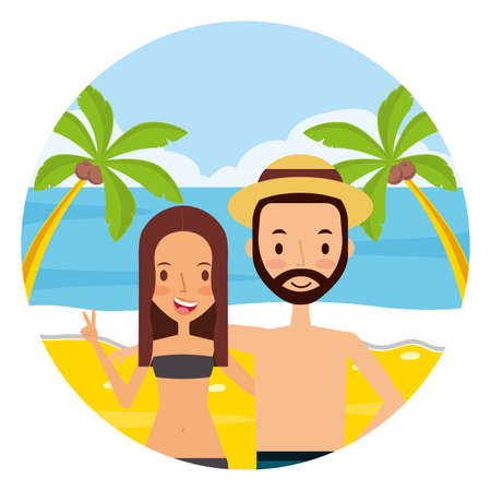 summer time holiday couple in the beach vector illustration 向量圖像