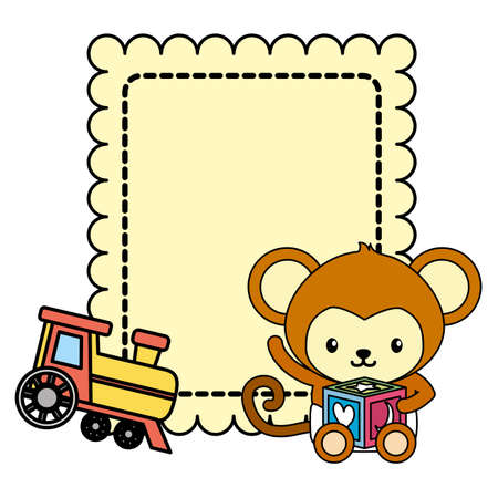 cute little monkey baby with train toy vector illustration design