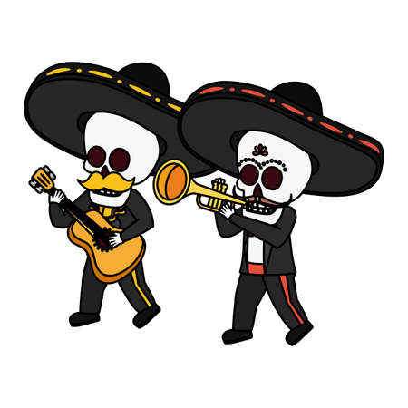 mexican skulls mariachis with trumpet and guitar vector illustration design