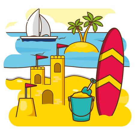 summer time holiday sandcastle surfboard bucket sailboat palm tree vector illustration