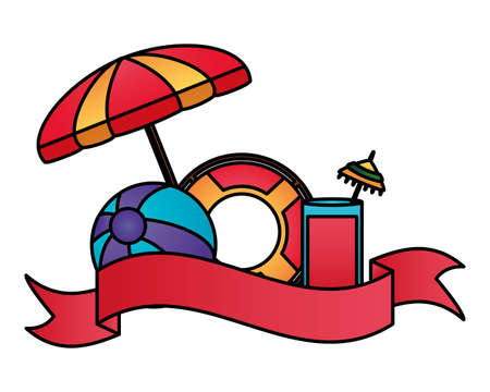 summer time holiday umbrella beachball float cocktail vector illustration 向量圖像